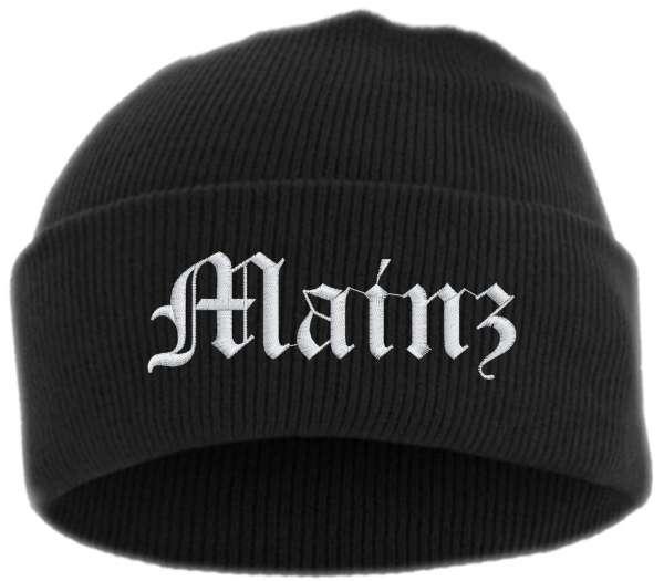 Mainz Umschlagmütze - Altdeutsch - Bestickt - Mütze mit breitem Umschlag
