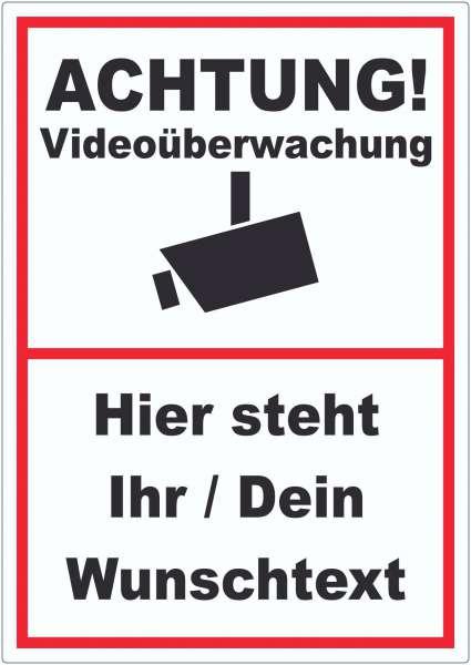 Achtung Videoüberwachung Aufkleber mit Wunschtext