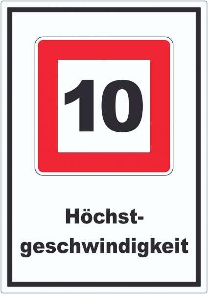 Höchstgeschwindigkeit 10 kmh nicht zu überschreiten Aufkleber mit Symbol und Text