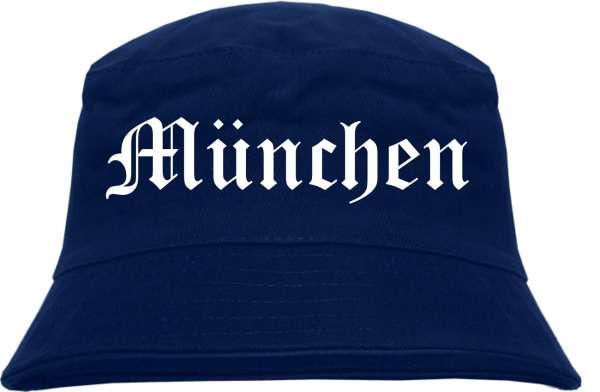 München Fischerhut - Dunkelblau - Altdeutsch - bedruckt - Bucket Hat Anglerhut Hut