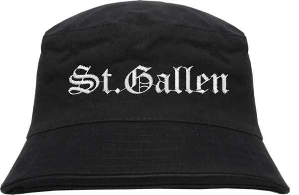 St.Gallen Fischerhut - Altdeutsch - bestickt - Bucket Hat Anglerhut Hut