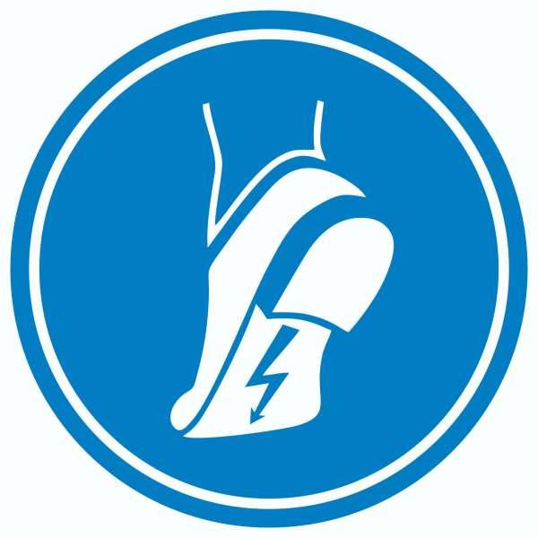 ESD Schuhe tragen Aufkleber Kreis Fußschutz gegen elektrostatische Aufladung