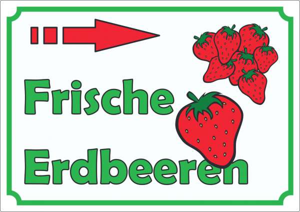 Werbeaufkleber Aufkleber Erdbeeren mit Pfeil nach rechts
