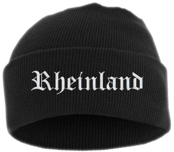 Rheinland Umschlagmütze - Altdeutsch - Bestickt - Mütze mit breitem Umschlag