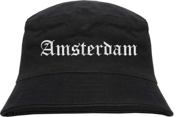 Amsterdam Fischerhut - Altdeutsch - bestickt - Bucket Hat Anglerhut Hut