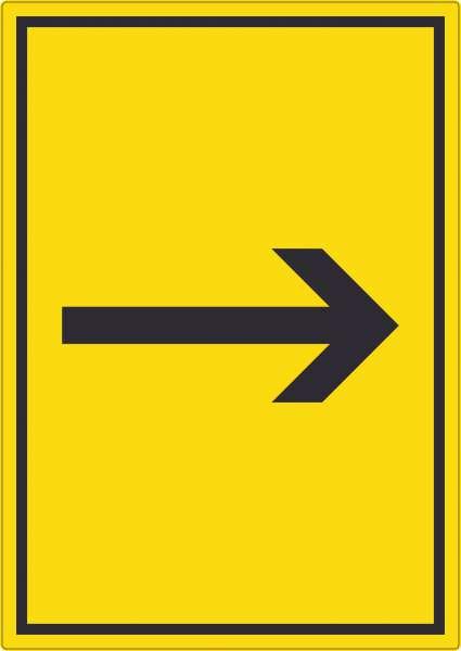 Richtungspfeil rechts Aufkleber hochkant schwarz gelb Pfeil