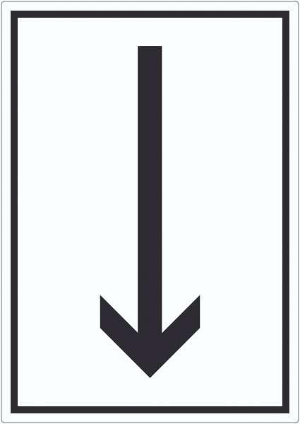 Richtungspfeil runter Aufkleber hochkant schwarz weiss Pfeil