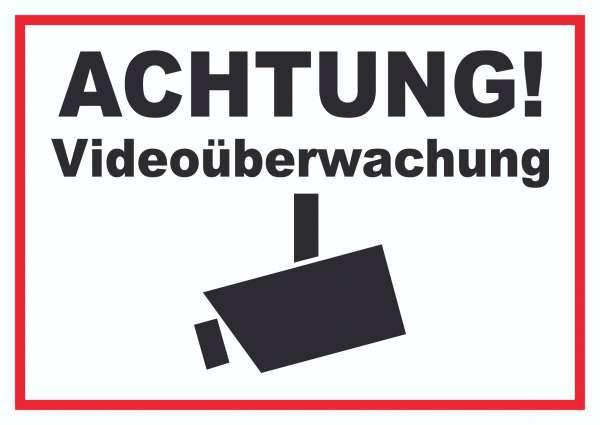 Achtung Videoüberwachung Kameraüberwachung Schild