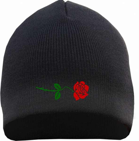 Rose Beanie Mütze - Bestickt - Strickmütze Wintermütze