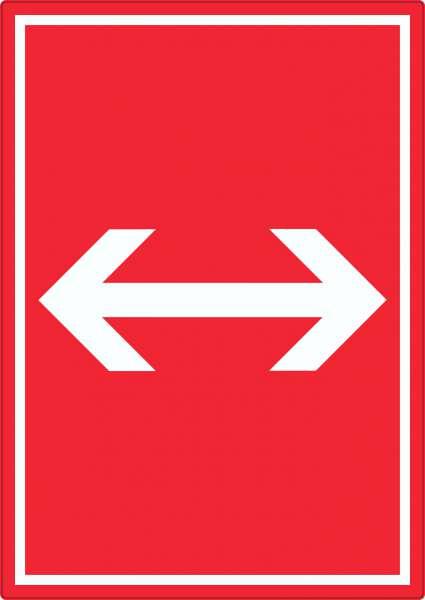 Richtungspfeil rechts links Aufkleber hochkant weiss rot Pfeil