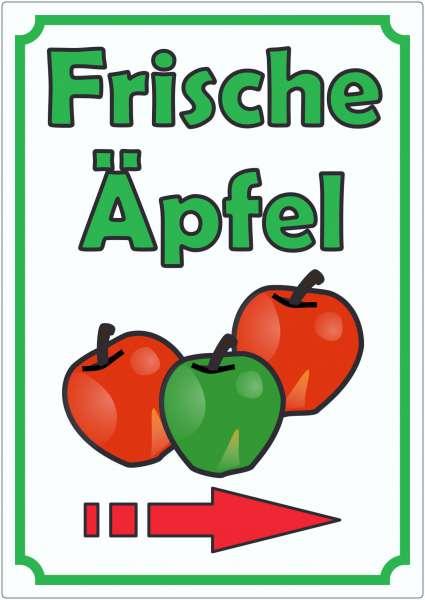Werbeaufkleber mit Pfeil rechts Aufkleber Äpfel Hochkant Aufkleber