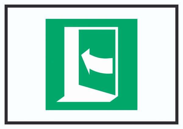 Tür öffnet durch Drücken auf der linken Seite Symbol Schild