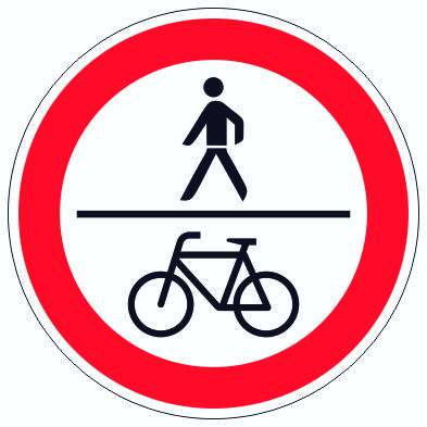 Für Fußgänger und Radfahrer verboten Symbol Aufkleber Kreis