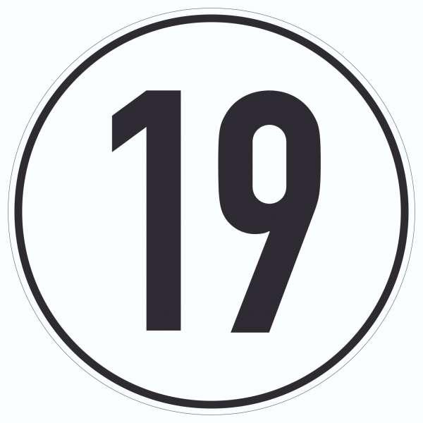 19km/h Geschwindigkeit Aufkleber Kreis