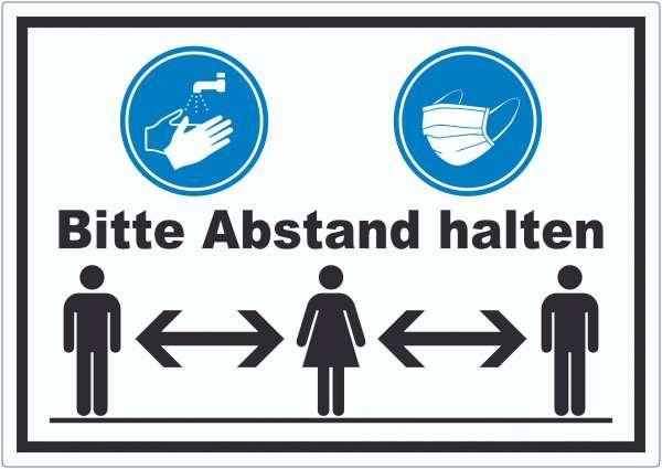 Hände waschen Mundschutz Abstand Aufkleber