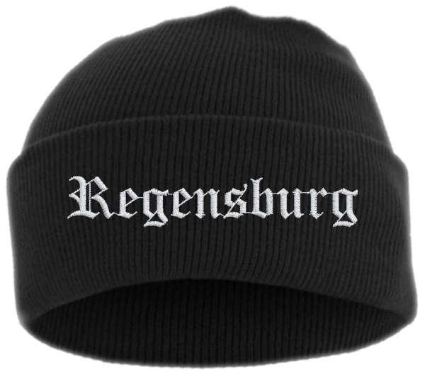 Regensburg Umschlagmütze - Altdeutsch - Bestickt - Mütze mit breitem Umschlag