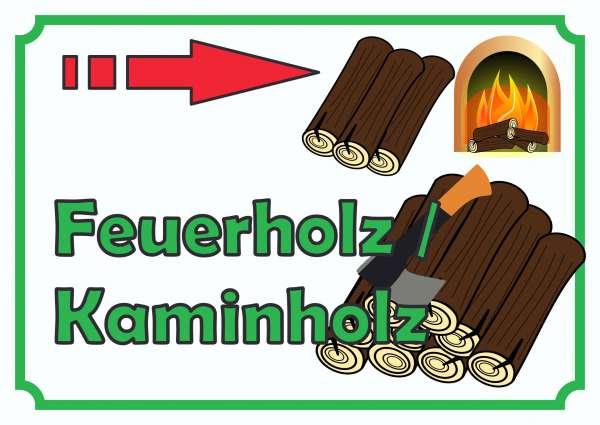 Verkaufsschild Schild Feuerholz rechts