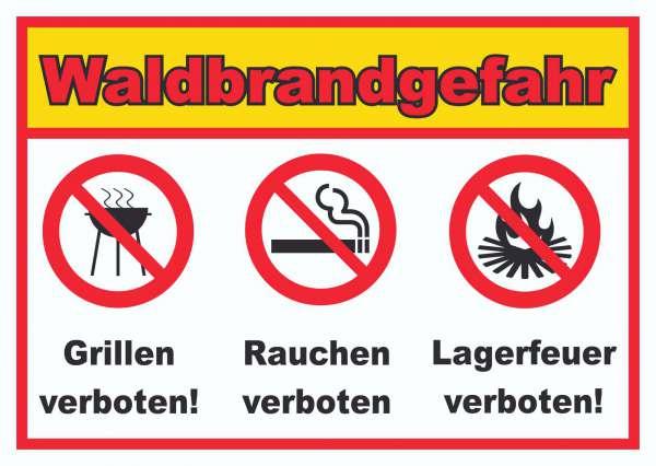 Waldbrandgefahr Grillen Rauchen Lagerfeuer verboten Schild