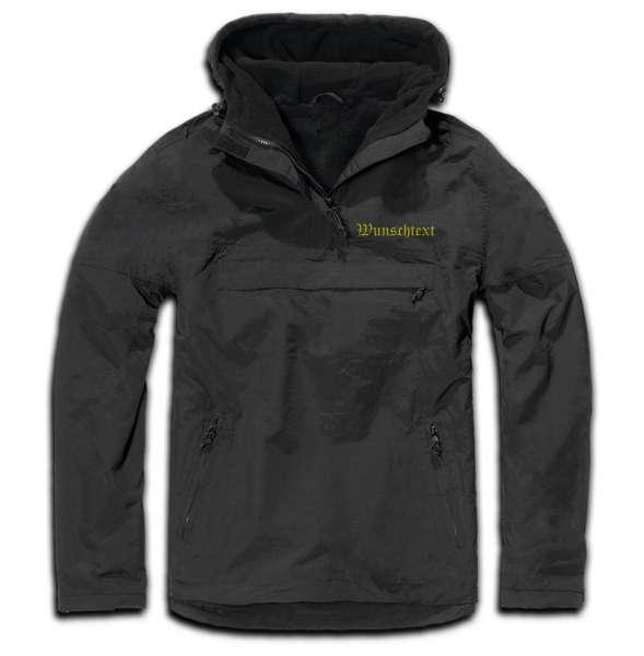 Windbreaker mit Wunschtext - Altdeutsch - bestickt - Winterjacke Jacke Stickfarbe: Gelb