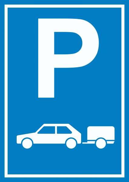 PKW mit Anhänger Parkplatz Schild Gespannparkplatz