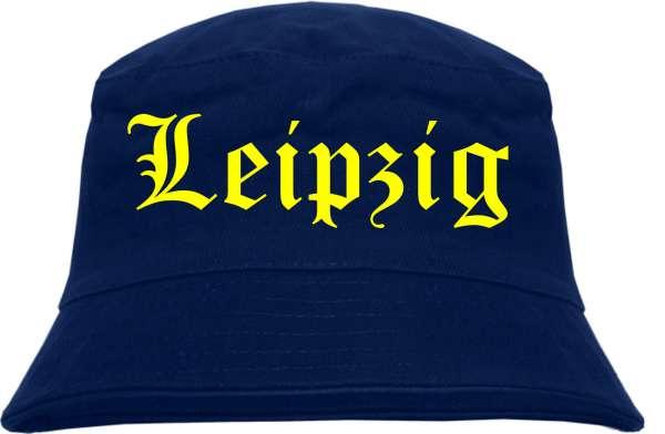 Leipzig Fischerhut - Dunkelblau - Gelber Druck - Bucket Hat