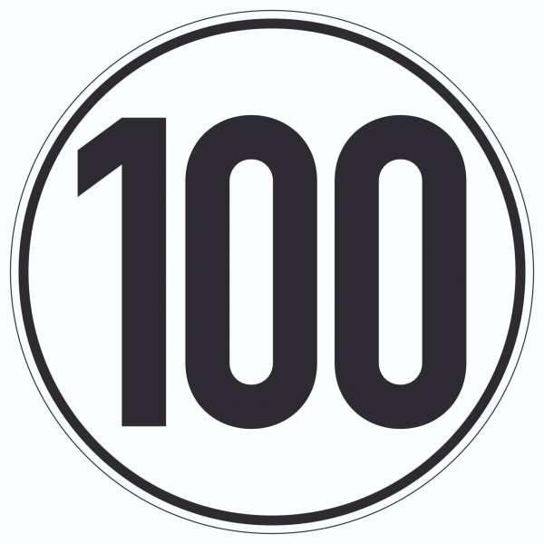 100km/h Geschwindigkeit Aufkleber Kreis