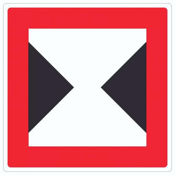 Begrenzte Fahrwasserbreite Durchfahrtsbreite begrenzt Symbol und Text