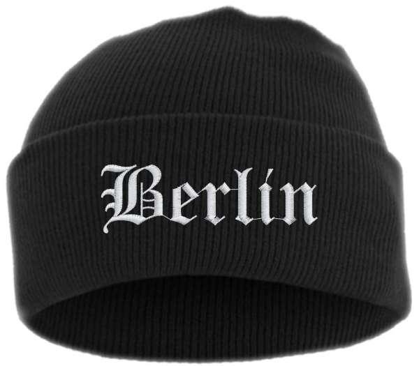 Berlin Umschlagmütze - Altdeutsch - Bestickt - Mütze mit breitem Umschlag
