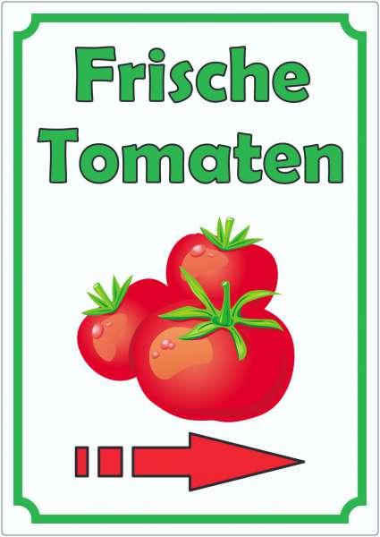 Frische Tomaten Aufkleber Hochkant mit Pfeil rechts