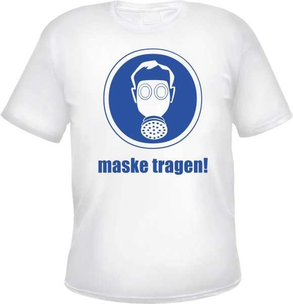 Funshirt Maske tragen - Motiv Herren T-Shirt - Tee Shirt Hinweisschild Atemschutz Gasmaske