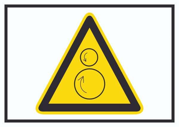 Achtung Gegenläufige Rollen Symbol Schild