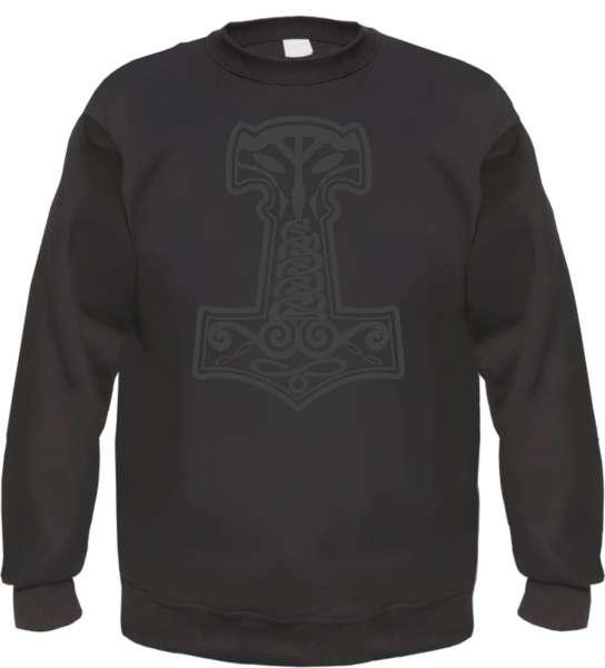 Thorshammer Mjolnir Sweatshirt - bedruckt - Pullover Druck Schwarz