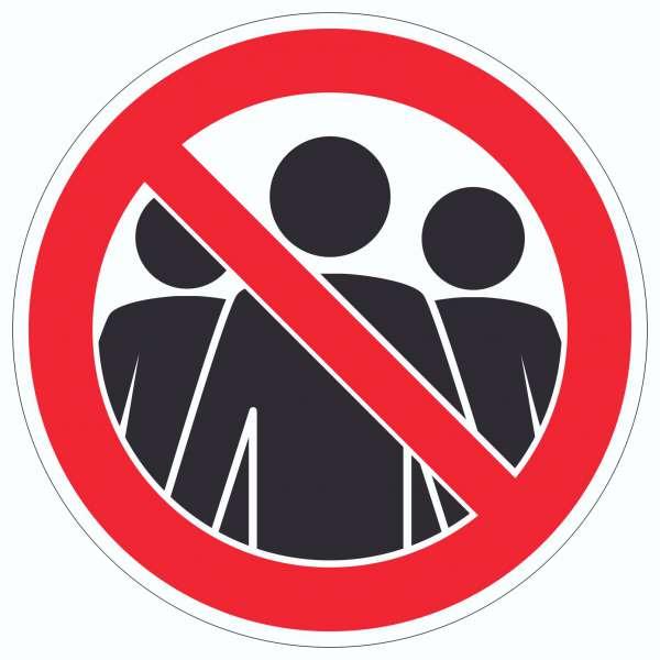 Menschenansammlung vermeiden Symbol Aufkleber Kreis