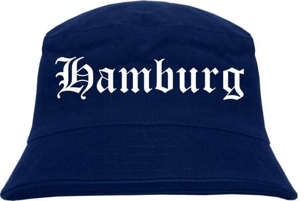 Hamburg Fischerhut - Dunkelblau - Altdeutsch - bedruckt - Bucket Hat Anglerhut Hut