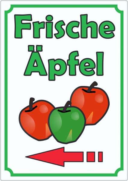 Werbeaufkleber mit Pfeil links Aufkleber Äpfel Hochkant Aufkleber