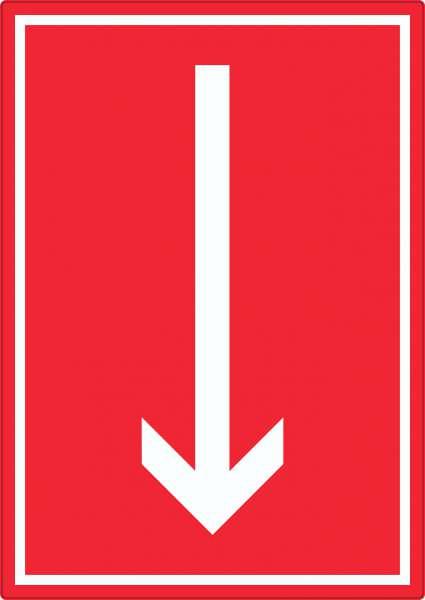 Richtungspfeil runter Aufkleber hochkant weiss rot Pfeil