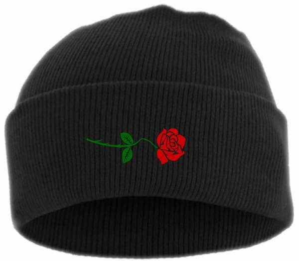 Rose Umschlagmütze - Bestickt - Mütze mit breitem Umschlag
