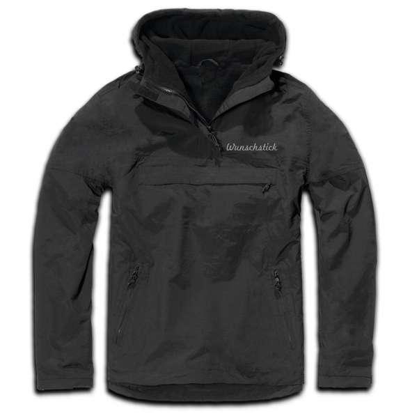 Windbreaker mit Wunschtext - Schreibschrift - bestickt - Winterjacke Jacke Stickfarbe: Grau