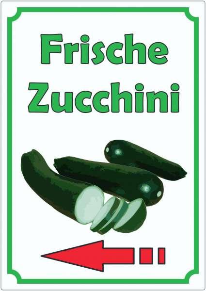 Frische Zucchini Aufkleber Hochkant mit Pfeil links