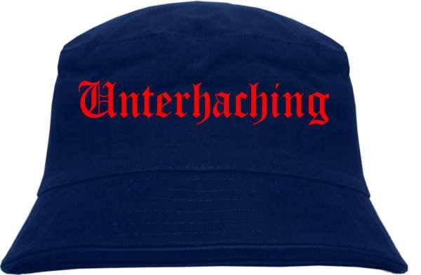Unterhaching Fischerhut - Dunkelblau - Roter Druck - Bucket Hat