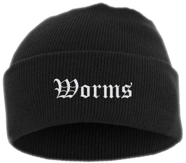 Worms Umschlagmütze - Altdeutsch - Bestickt - Mütze mit breitem Umschlag