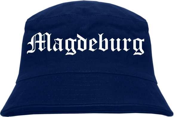 Magdeburg Fischerhut - Dunkelblau - Altdeutsch - bedruckt - Bucket Hat Anglerhut Hut