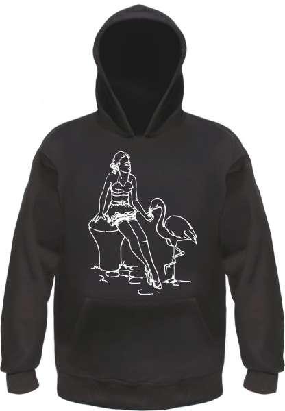 Pin Up Girl - Flamingo - Kapuzensweatshirt - bedruckt - Hoodie Kapuzenpullover