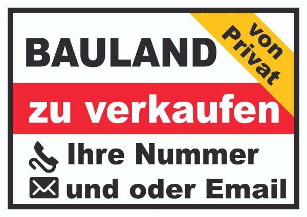 Bauland zu verkaufen von privat Schild