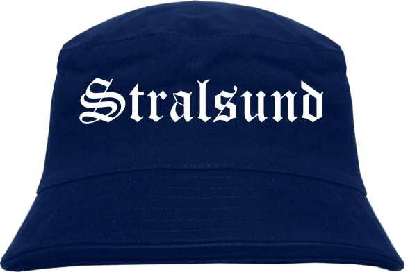 Stralsund Fischerhut - Dunkelblau - Altdeutsch - bedruckt - Bucket Hat Anglerhut Hut