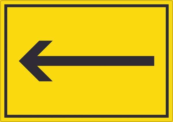 Richtungspfeil links Aufkleber waagerecht schwarz gelb Pfeil