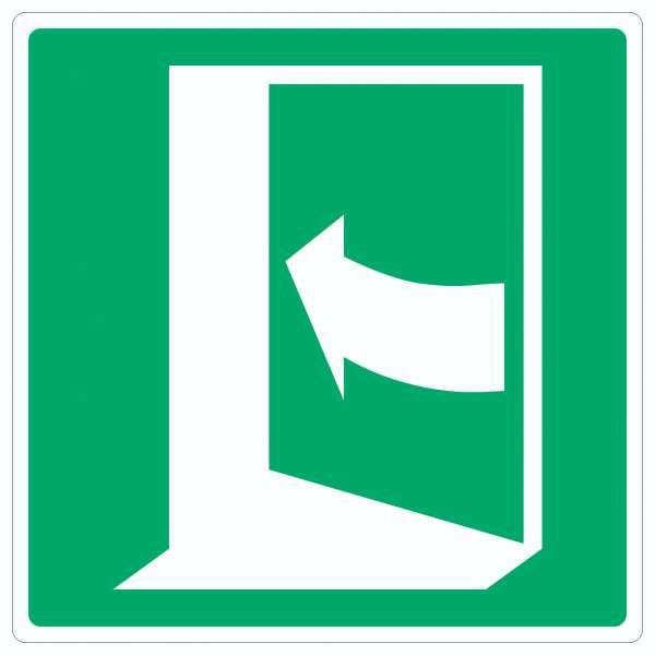 Tür öffnet durch Drücken auf der linken Seite Symbol Aufkleber Quadrat
