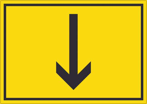 Richtungspfeil runter Aufkleber waagerecht schwarz gelb Pfeil