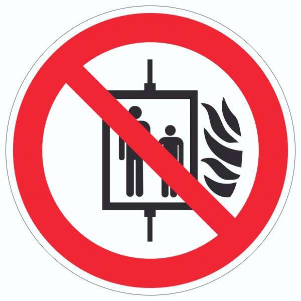Aufzug im Brandfall nicht benutzen Symbol Aufkleber Kreis