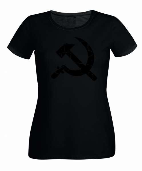 Hammer und Sichel schwarz Damen T-Shirt